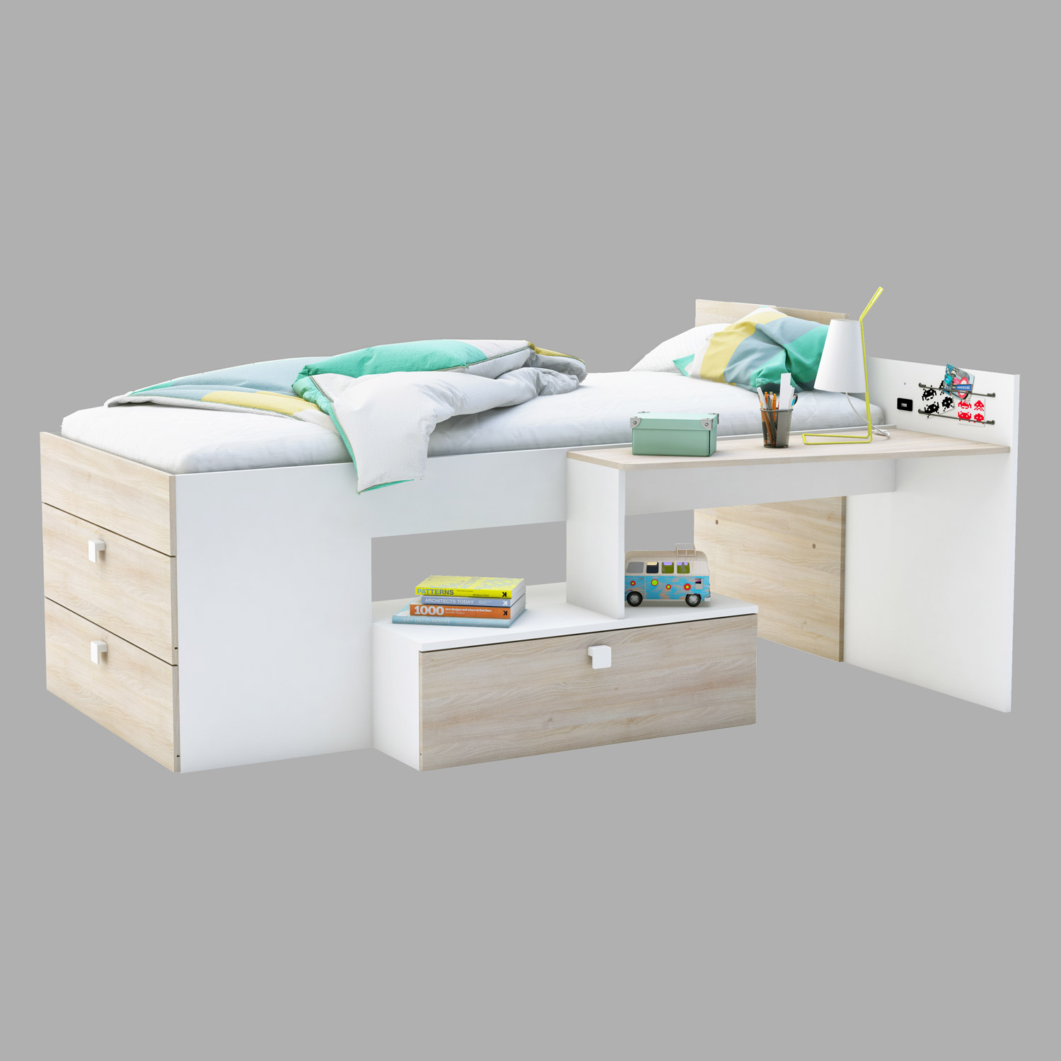 bett move bettkombination jugendzimmer perle wei und akazie 90x200 cm ebay. Black Bedroom Furniture Sets. Home Design Ideas