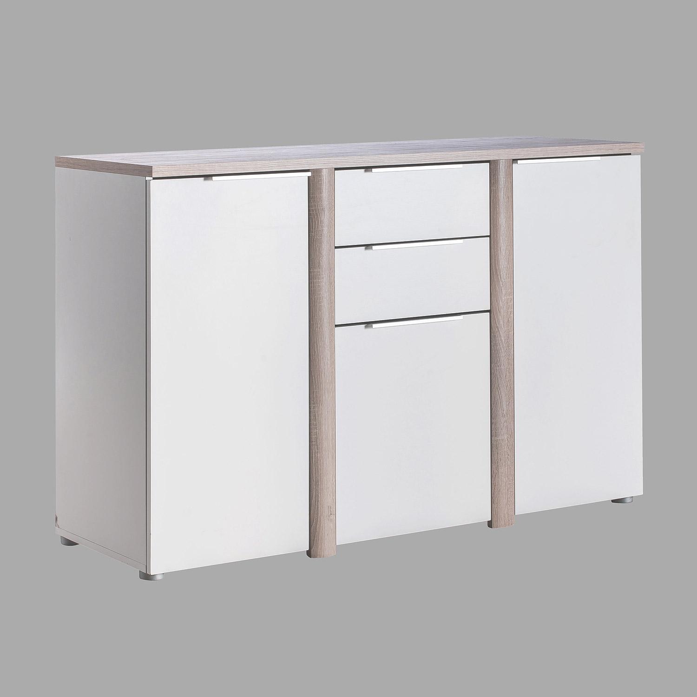 kommode nobel sideboard anrichte wei und sonoma eiche. Black Bedroom Furniture Sets. Home Design Ideas