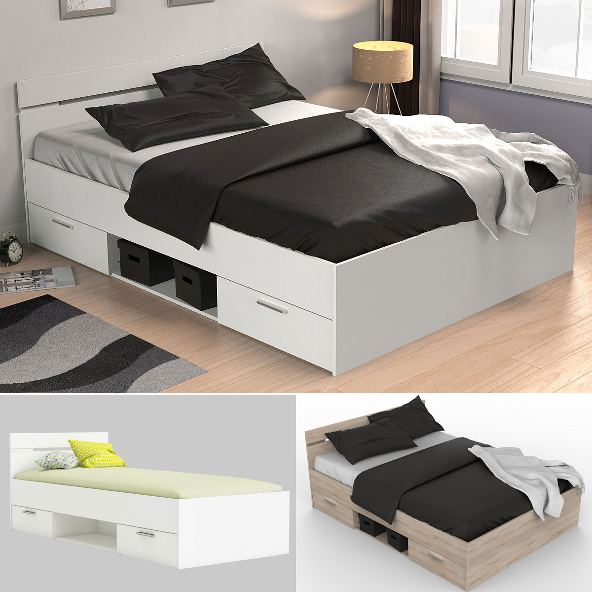 bett michigan jugendbett g stebett mit 2 schubk sten liegefl che 90x200 140x200 ebay. Black Bedroom Furniture Sets. Home Design Ideas