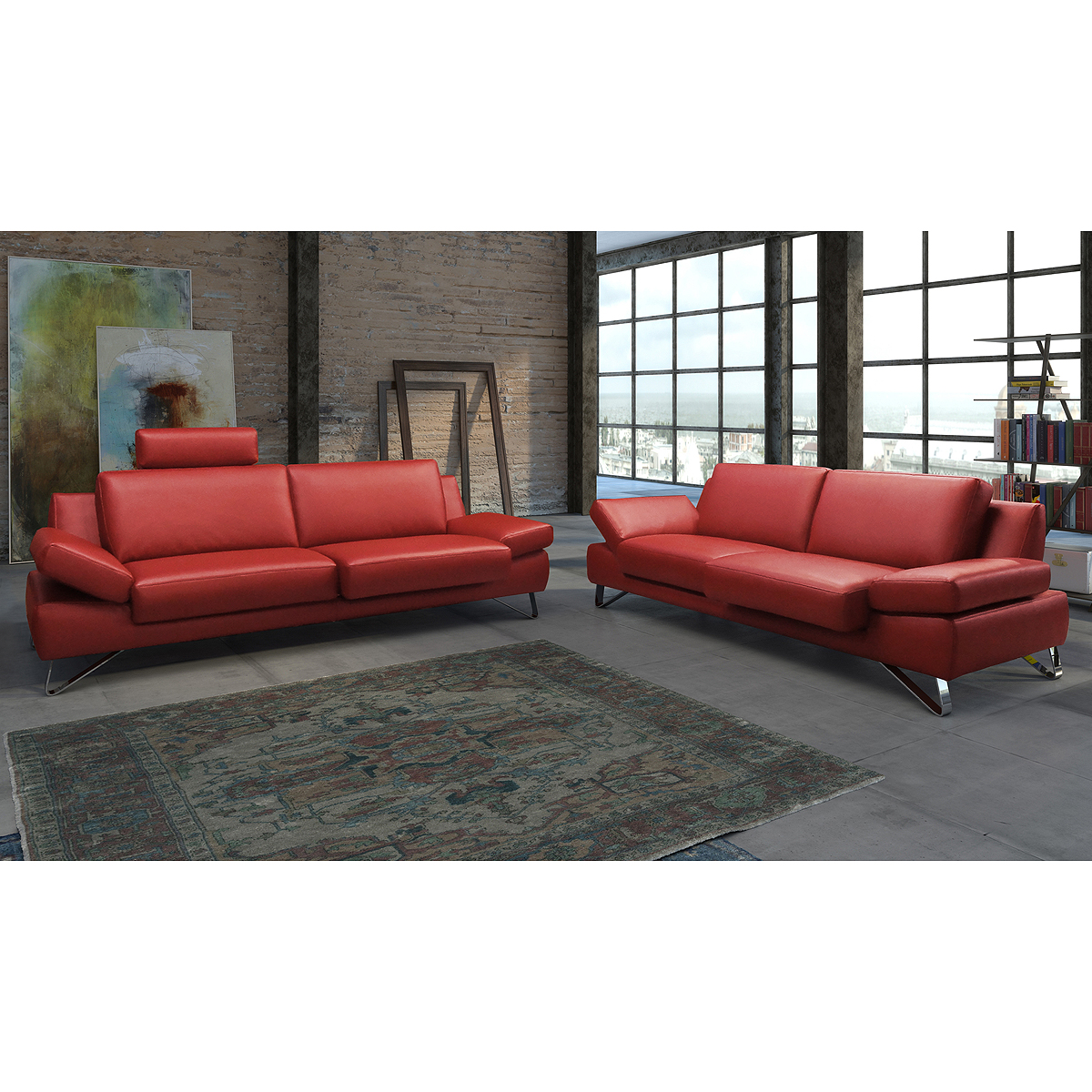 sofagarnitur finest sofa garnitur polsterm bel leder kaminrot rot mit funktionen ebay. Black Bedroom Furniture Sets. Home Design Ideas