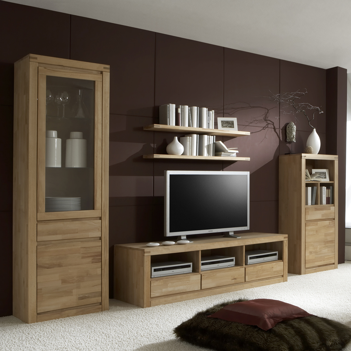 wohnwand delft 2 wohnzimmer anbauwand in kernbuche massiv ge lt ebay. Black Bedroom Furniture Sets. Home Design Ideas