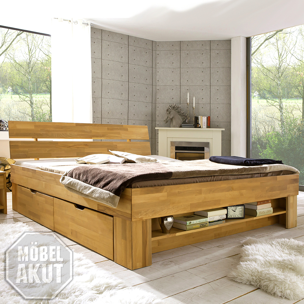 futonbett sofie bett kern buche massiv ge lt inkl bettkasten und regal 180x200 ebay. Black Bedroom Furniture Sets. Home Design Ideas