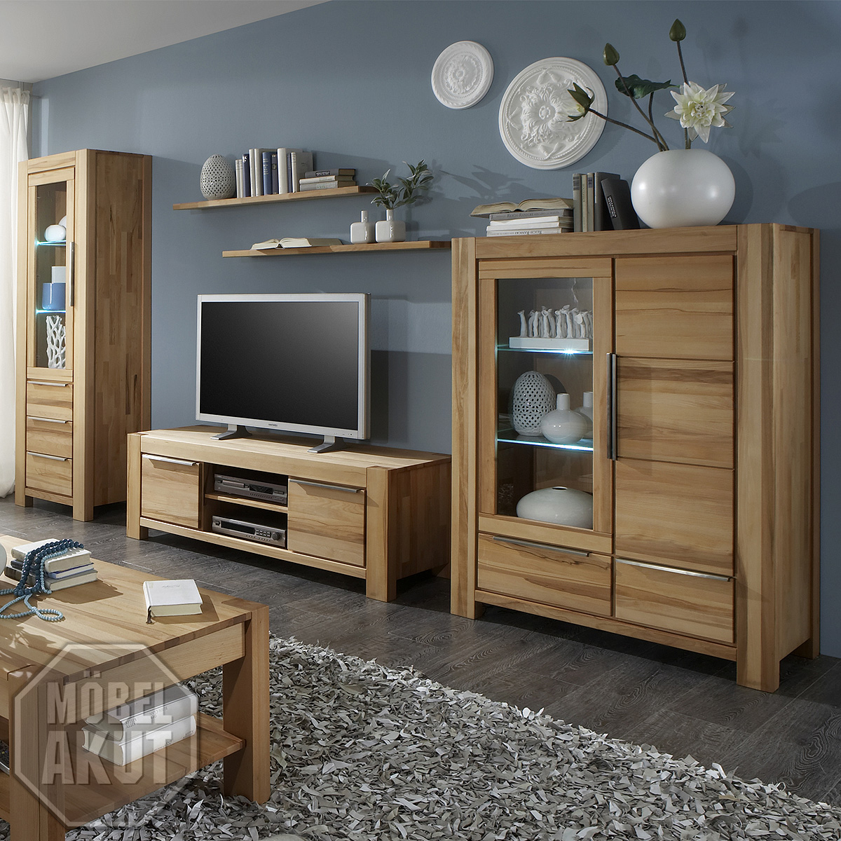 wohnwand nena anbauwand wohnkombi wohnzimmer in kern buche massiv ge lt ebay. Black Bedroom Furniture Sets. Home Design Ideas