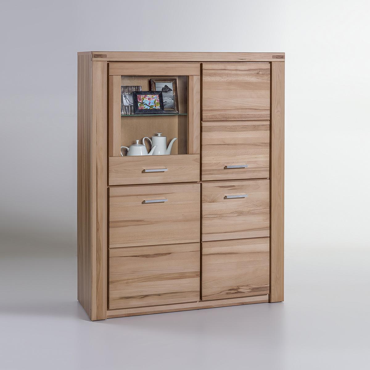 vitrine tabea standvitrine buffet highboard kernbuche oder wildeiche teil massiv ebay. Black Bedroom Furniture Sets. Home Design Ideas