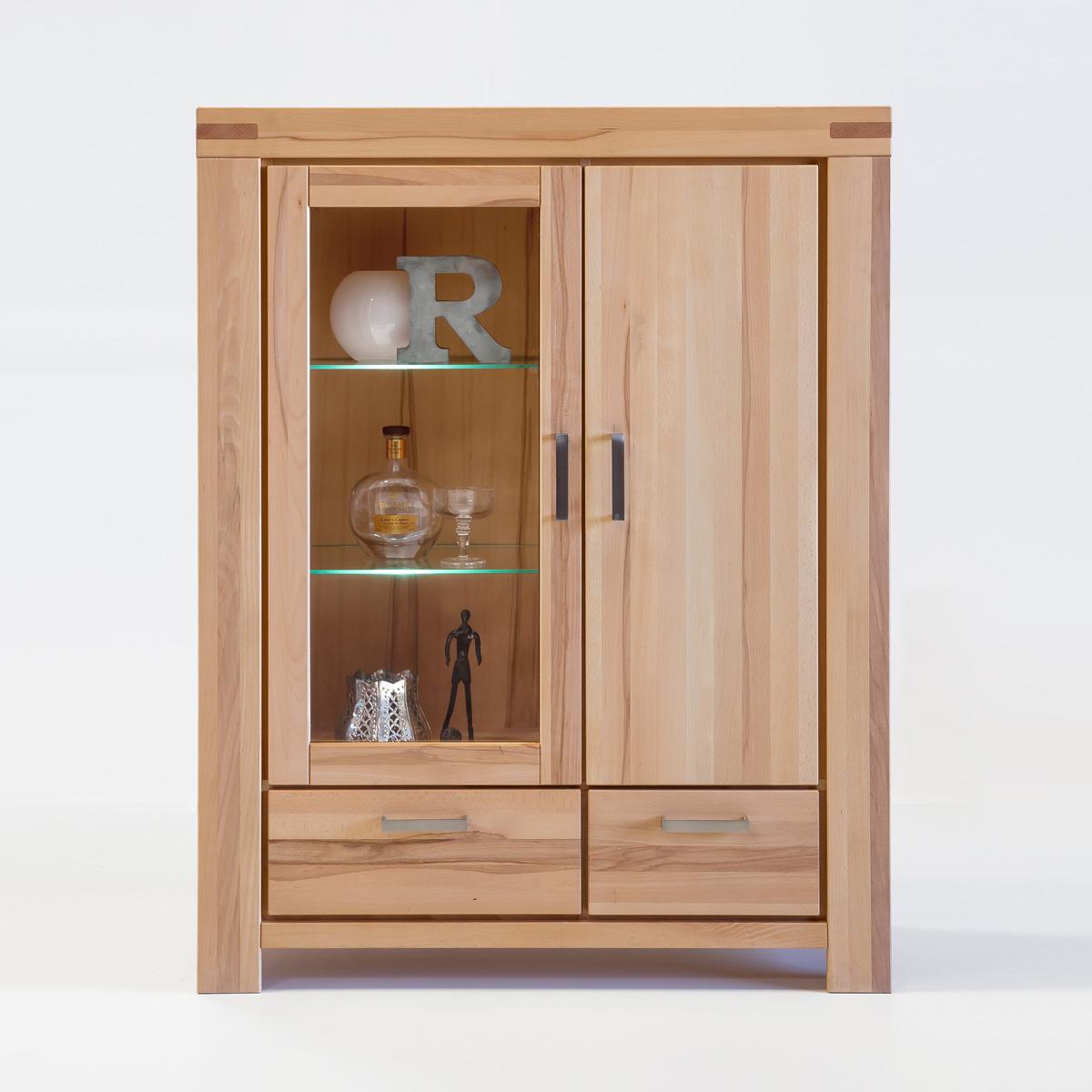 vitrine kira standvitrine buffet auswahl kernbuche wildeiche massiv ge lt bianco. Black Bedroom Furniture Sets. Home Design Ideas