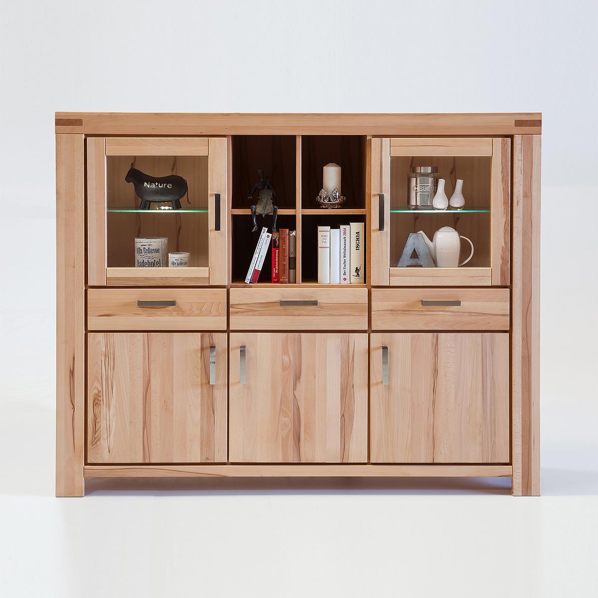highboard kira vitrine buffet auswahl kernbuche wildeiche massiv ge lt bianco ebay. Black Bedroom Furniture Sets. Home Design Ideas