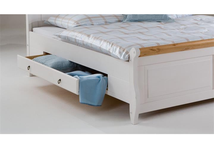bett malta doppelbett in kiefer massiv wei und antik 200x200 mit schubkasten ebay. Black Bedroom Furniture Sets. Home Design Ideas