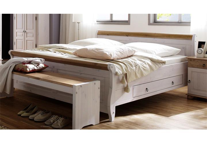 bett oslo kiefer massiv wei lava oder antik mit. Black Bedroom Furniture Sets. Home Design Ideas