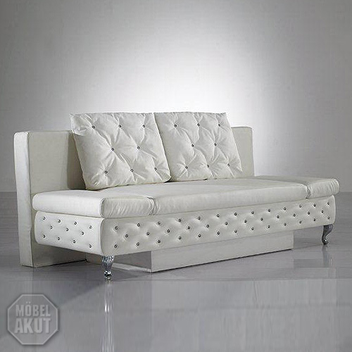 schlafsofa cash sofa in wei mit bettfunktion ebay. Black Bedroom Furniture Sets. Home Design Ideas