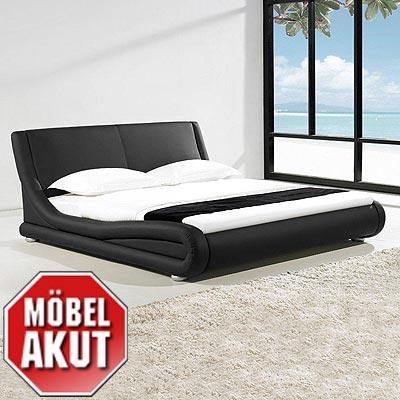 leder bett barkley polsterbett bett farbe schwarz neu 180 x 200 ebay. Black Bedroom Furniture Sets. Home Design Ideas