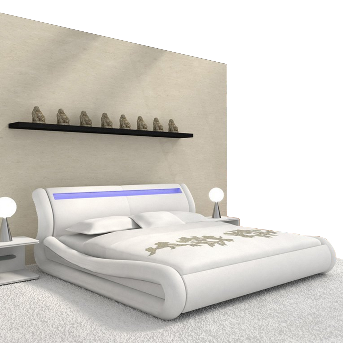 doppelbett polsterbett nios bett 180x200 in wei mit beleuchtung ebay. Black Bedroom Furniture Sets. Home Design Ideas