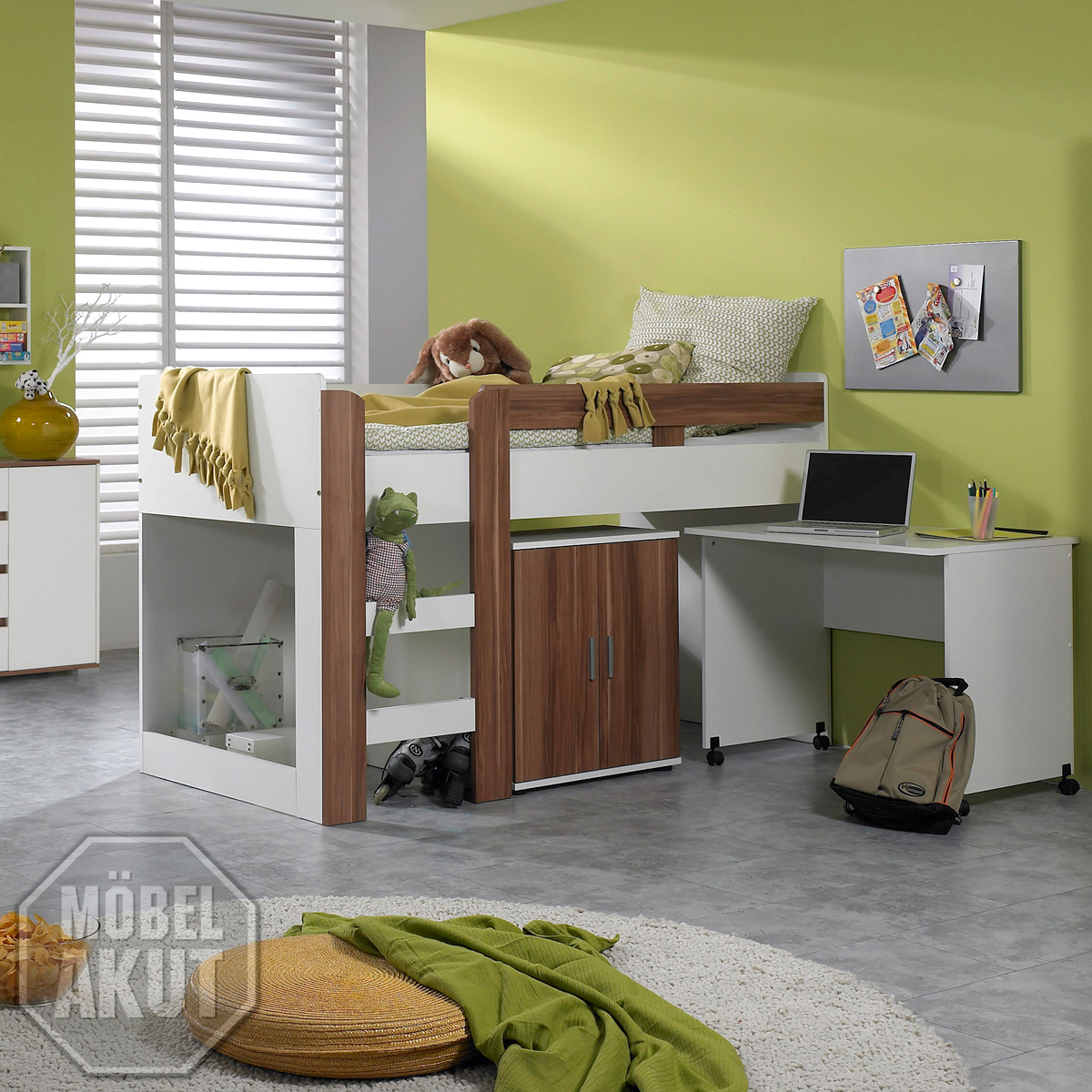 hochbett mit schreibtisch pedro 5 kinderzimmer in weiss und nussbaum ebay. Black Bedroom Furniture Sets. Home Design Ideas
