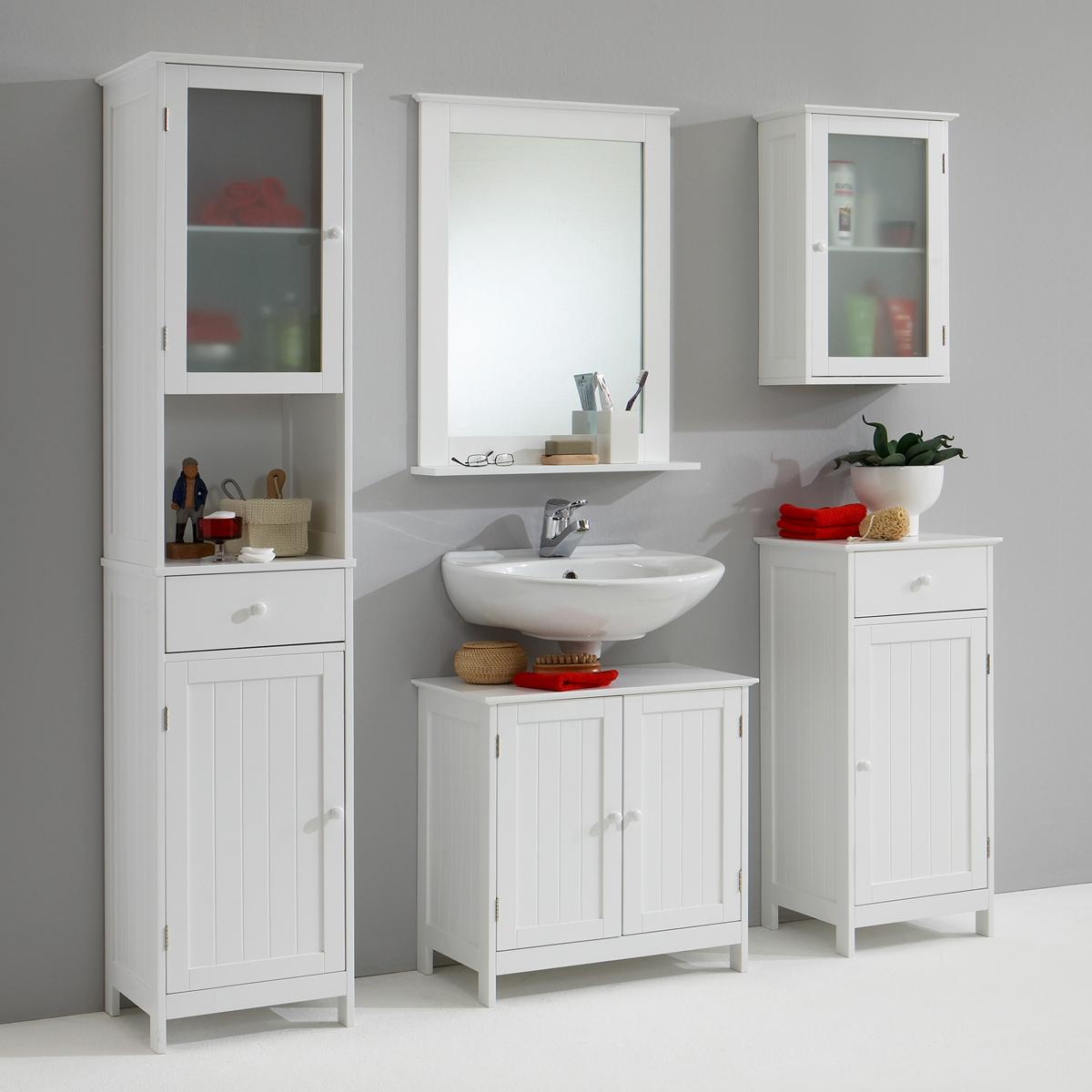 badezimmer set stockholm 5 teile badm del schrank spiegel kommode wei ebay. Black Bedroom Furniture Sets. Home Design Ideas