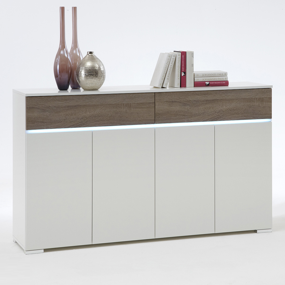 sideboard light kommode wei und sonoma eiche s gerau dunkel und led ebay. Black Bedroom Furniture Sets. Home Design Ideas