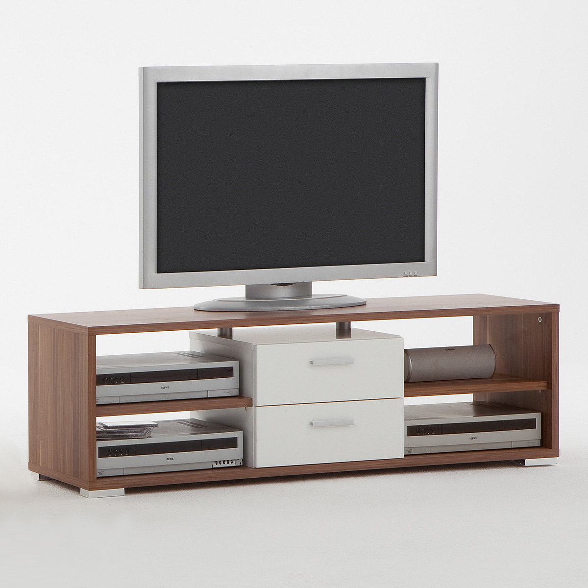 tv board nemo lowboard tv regal unterschrank tv hifi element in nussbaum wei ebay. Black Bedroom Furniture Sets. Home Design Ideas
