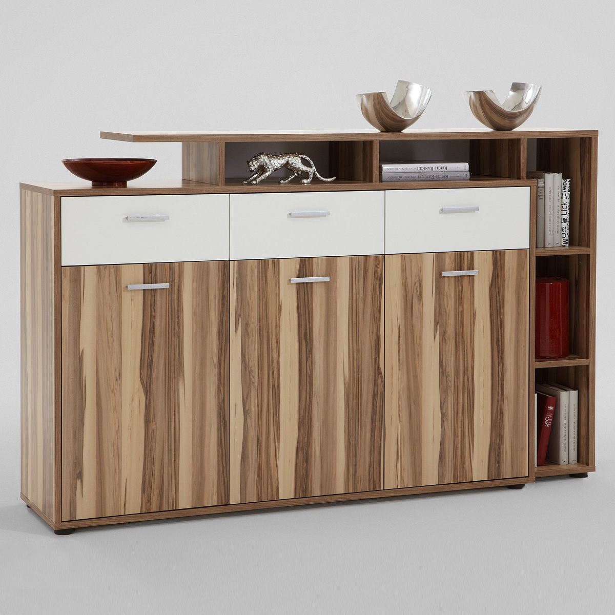 sideboard comida 2 highboard anrichte kommode schrank baltimore walnuss wei ebay. Black Bedroom Furniture Sets. Home Design Ideas