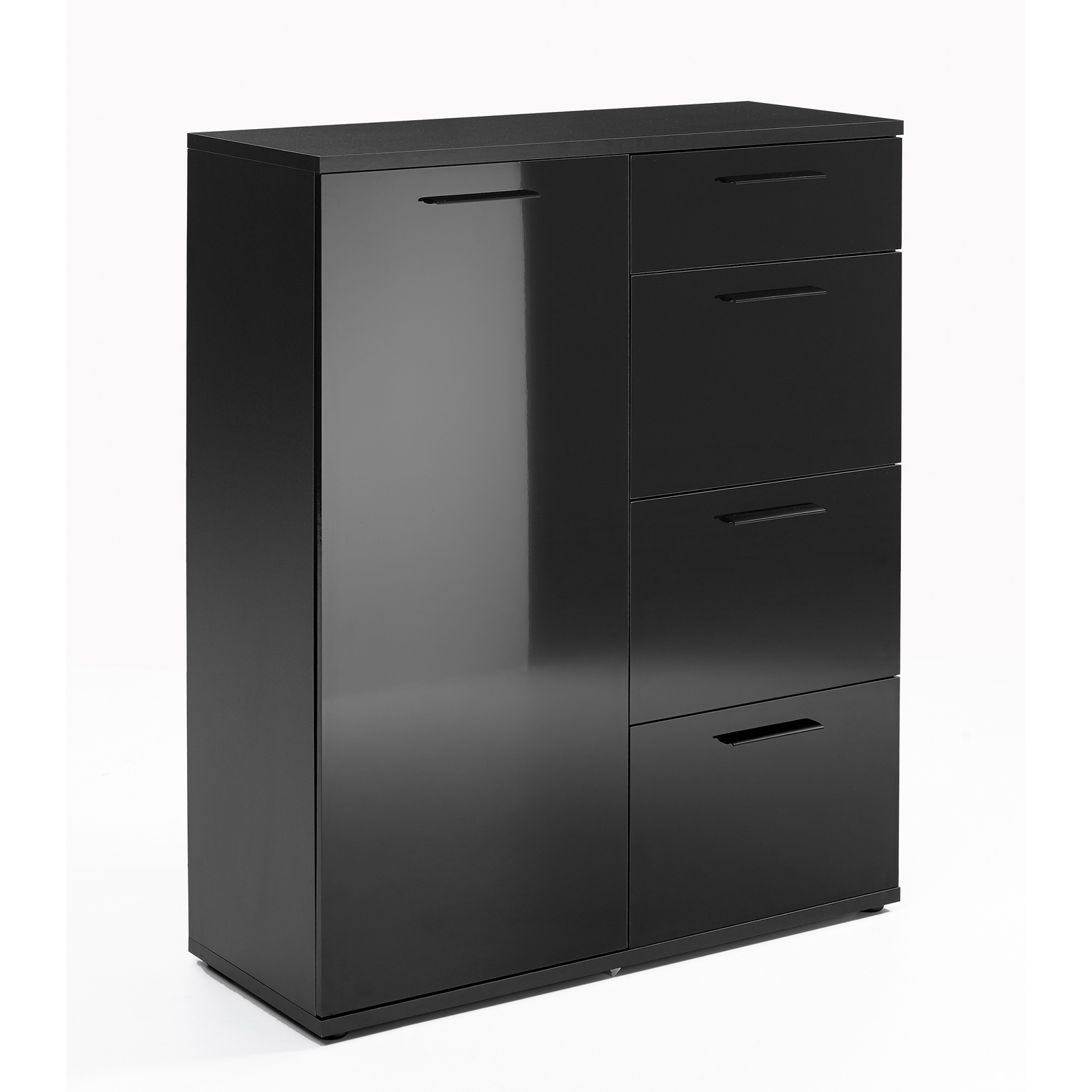 mehrzweckkommode dublin kommode anrichte schwarz hochglanz 3 varianten auswahl ebay. Black Bedroom Furniture Sets. Home Design Ideas