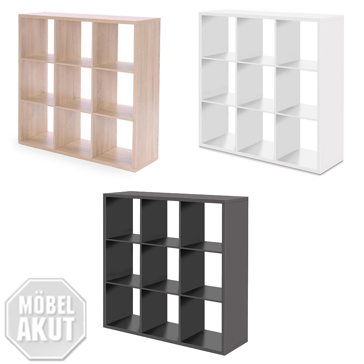 regal moritz 9 f cher raumteiler farbauswahl eiche wei. Black Bedroom Furniture Sets. Home Design Ideas