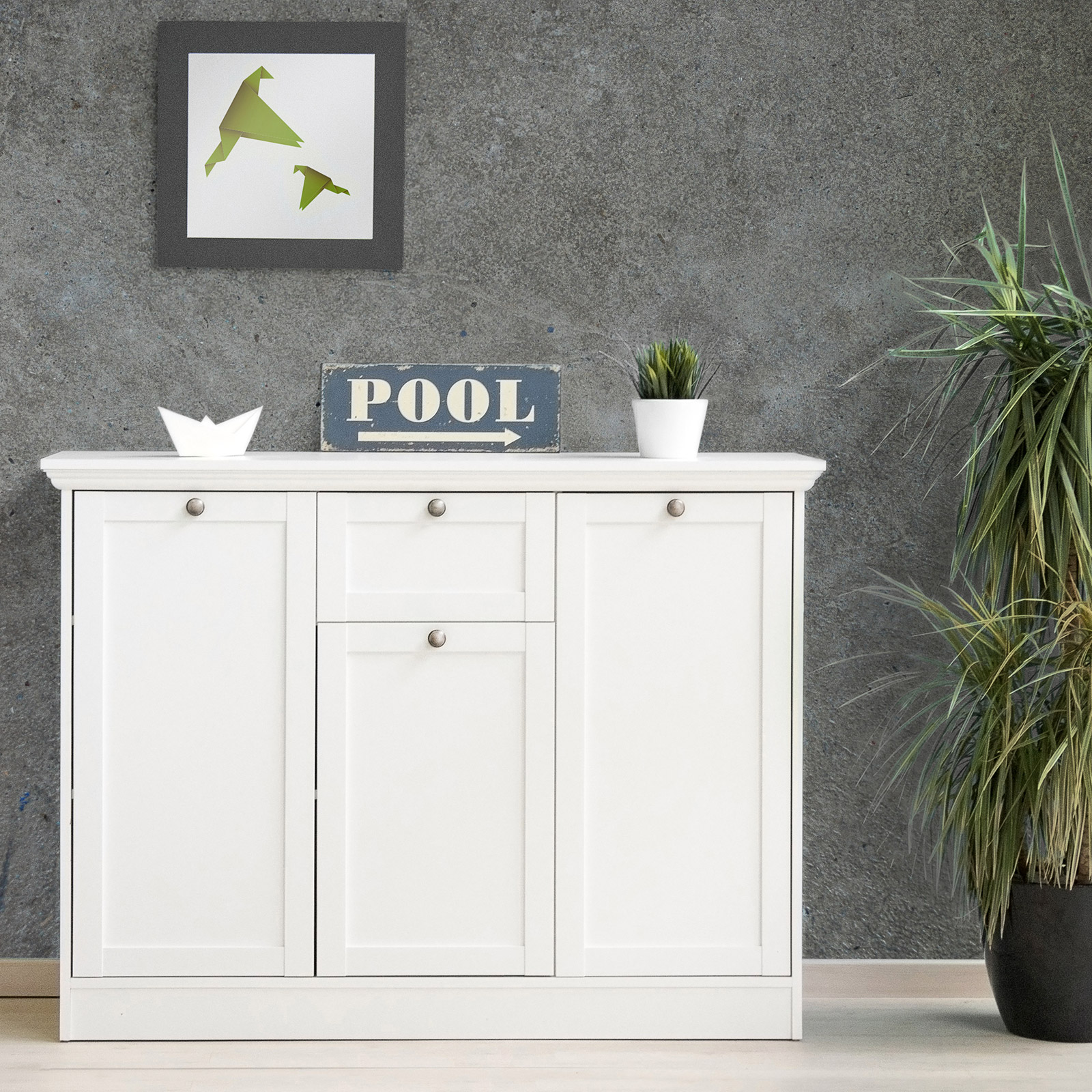 kommode landwood sideboard stauraumelement in wei mit 3 t ren landhausstil. Black Bedroom Furniture Sets. Home Design Ideas