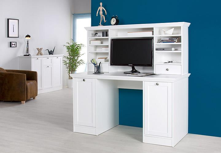 schreibtisch landwood 33 mit aufsatz landhausstil sekret r wei ebay. Black Bedroom Furniture Sets. Home Design Ideas