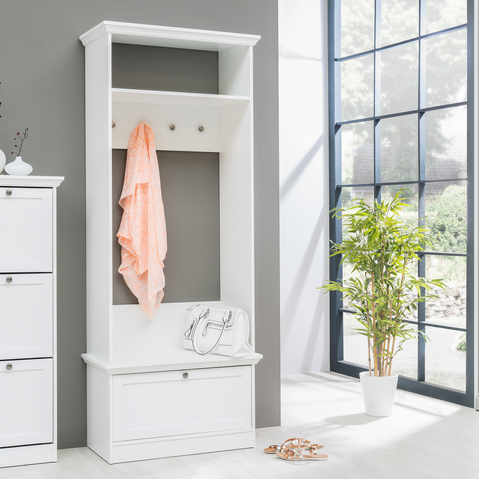 kompaktgarderobe landwood garderobe flur diele in wei mit 4 haken landhausstil ebay. Black Bedroom Furniture Sets. Home Design Ideas