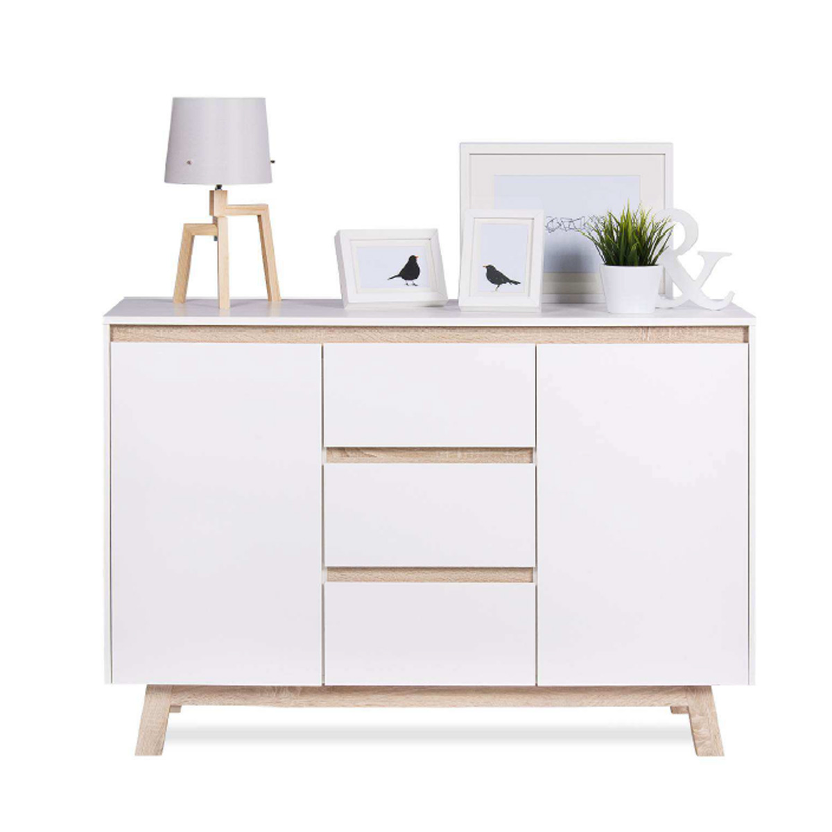 kommode apart 2 sideboard anrichte in wei und sonoma eiche breite 120 cm ebay. Black Bedroom Furniture Sets. Home Design Ideas