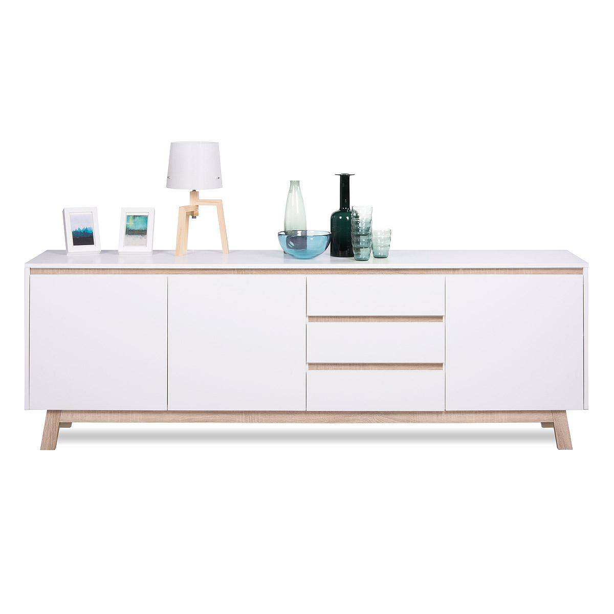 sideboard apart 3 kommode anrichte in wei und sonoma eiche breite 200cm ebay. Black Bedroom Furniture Sets. Home Design Ideas