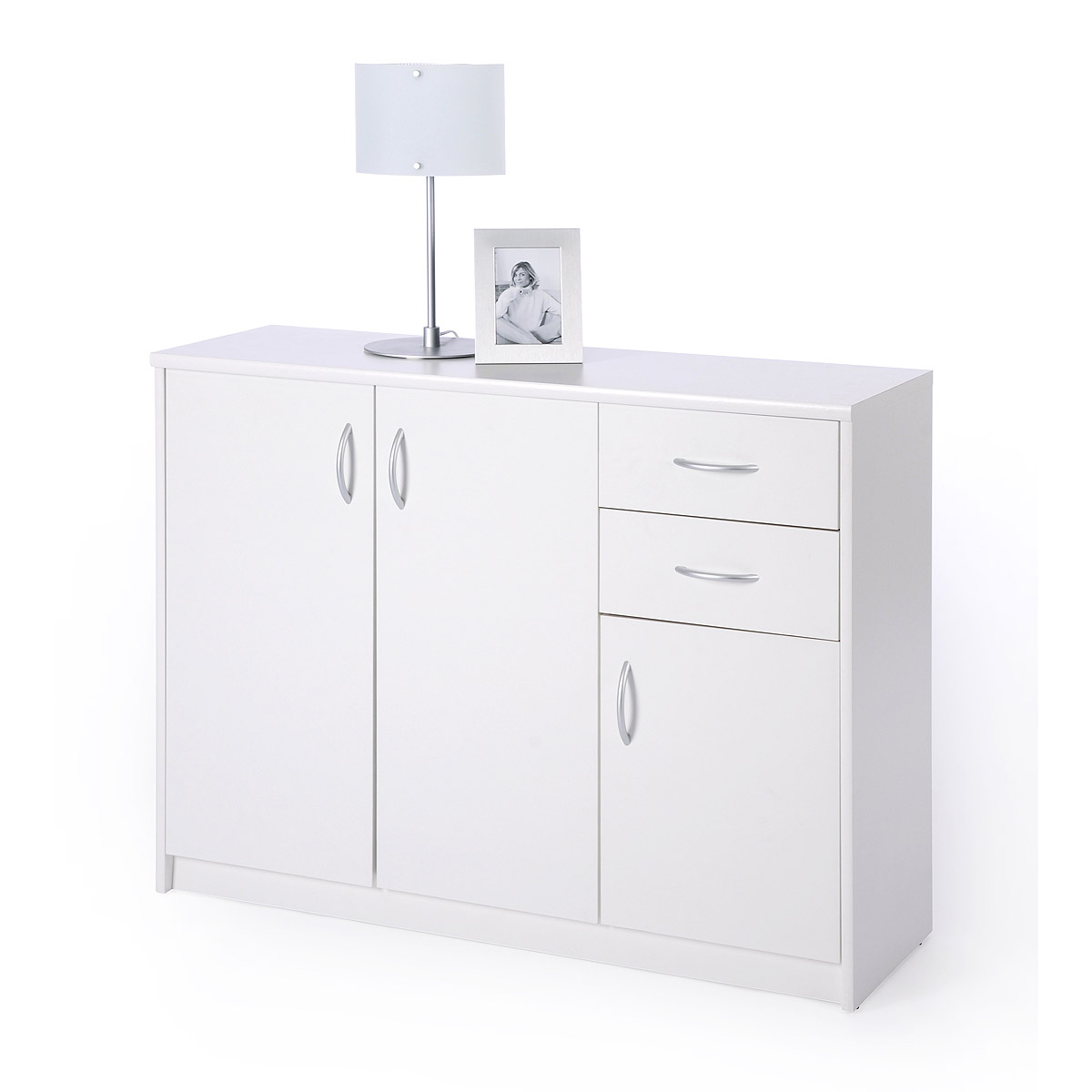sideboard kiel 2 anrichte kommode wei mit 3 t ren und 2 schubk sten ebay. Black Bedroom Furniture Sets. Home Design Ideas