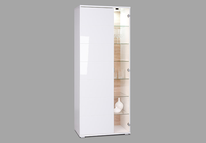 vitrine glossy 2 schrank wei hochglanz sonoma eiche inkl led beleuchtung ebay. Black Bedroom Furniture Sets. Home Design Ideas