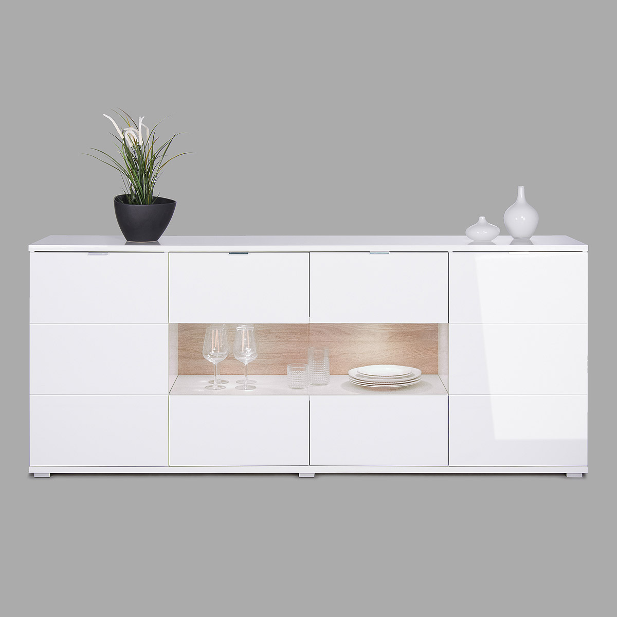 sideboard glossy 5 kommode wei hochglanz sonoma eiche inkl led ebay. Black Bedroom Furniture Sets. Home Design Ideas