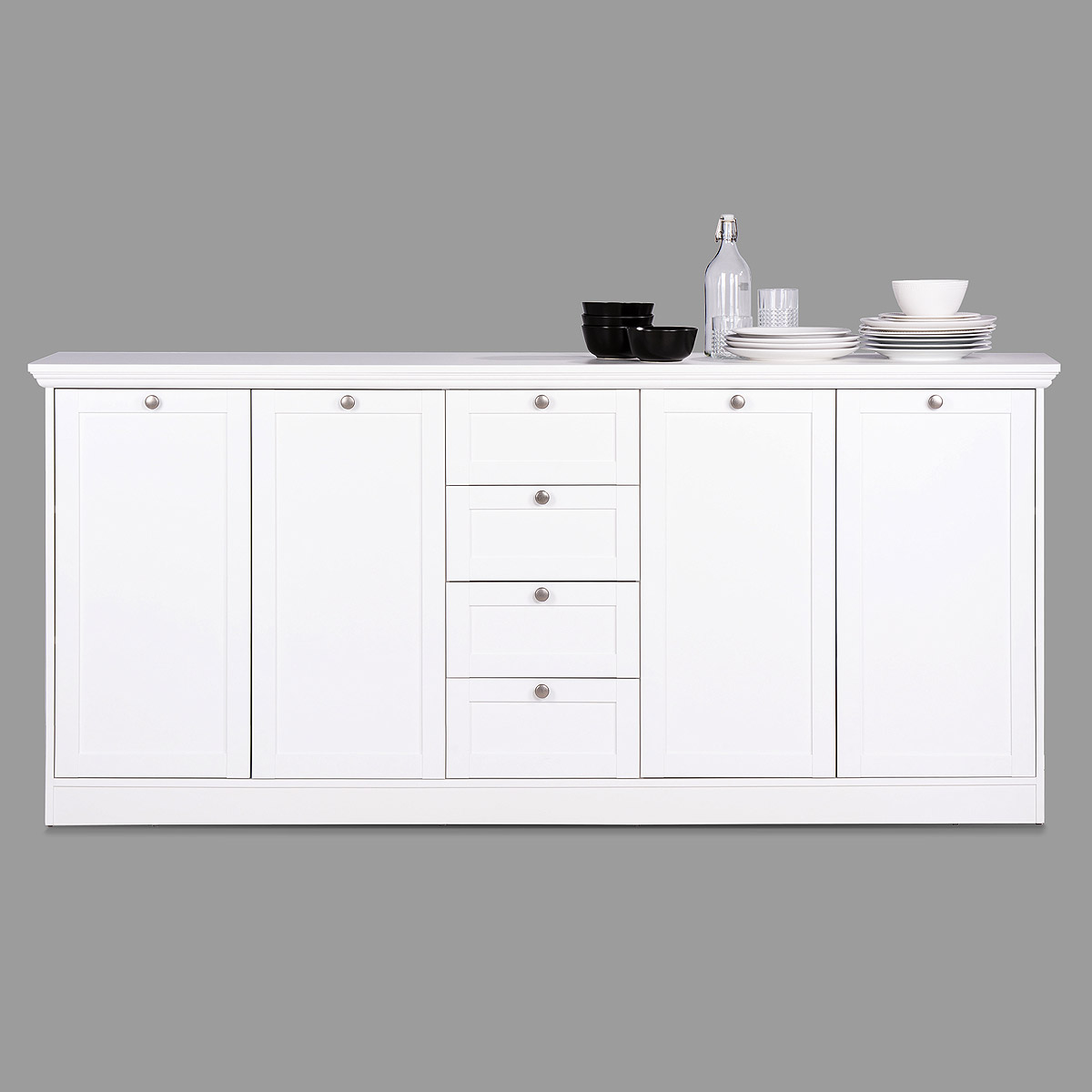 sideboard landwood 52 landhausstil anrichte kommode wei 4 t rig ebay. Black Bedroom Furniture Sets. Home Design Ideas