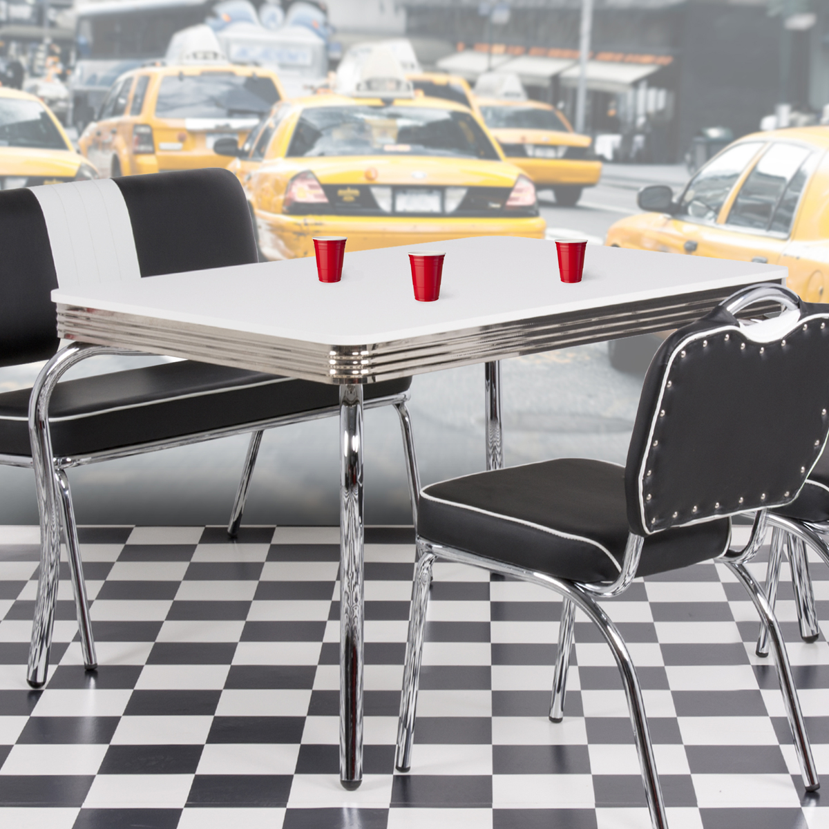 tisch elvis american diner bistro 50er jahre rockabilly retro verchromt 120x80cm ebay. Black Bedroom Furniture Sets. Home Design Ideas