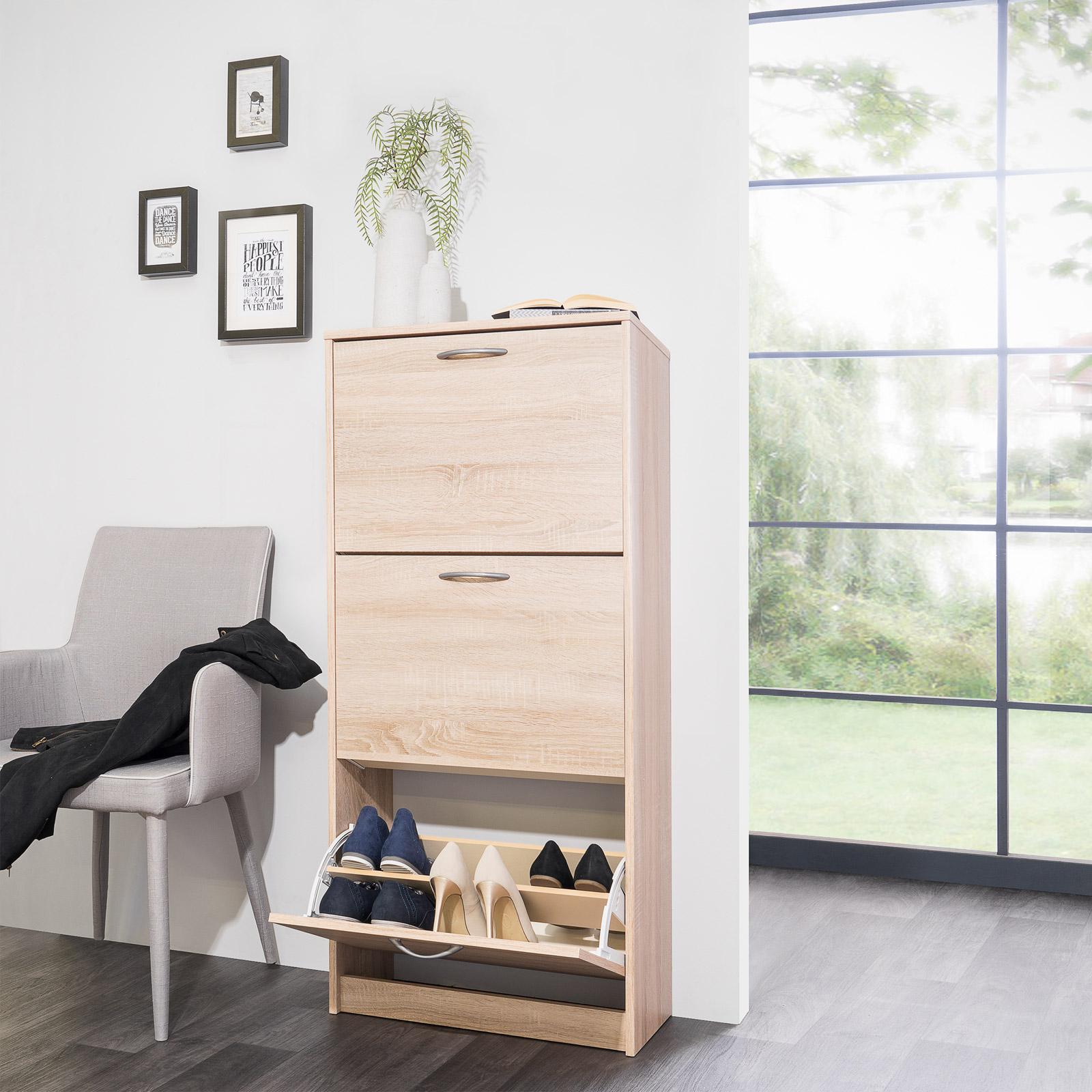 schuhschrank mainz schuhkipper schuhregal in 2 gr en eiche sonoma buche wei ebay. Black Bedroom Furniture Sets. Home Design Ideas