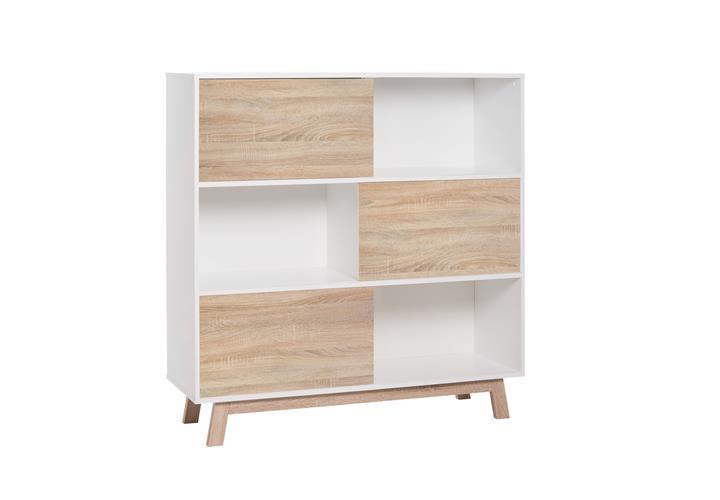 regal kommode apart 5 mit 3 schiebet ren wendbar wei. Black Bedroom Furniture Sets. Home Design Ideas