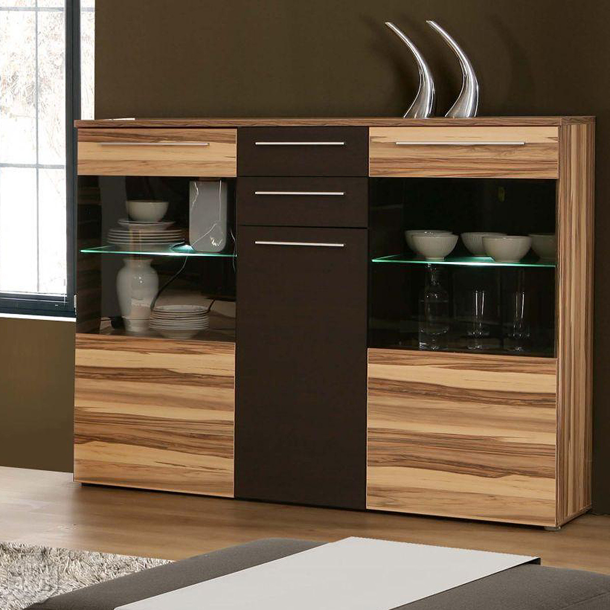 highboard fondo schrank sideboard vitrine in baltimore walnuss braun led ebay. Black Bedroom Furniture Sets. Home Design Ideas