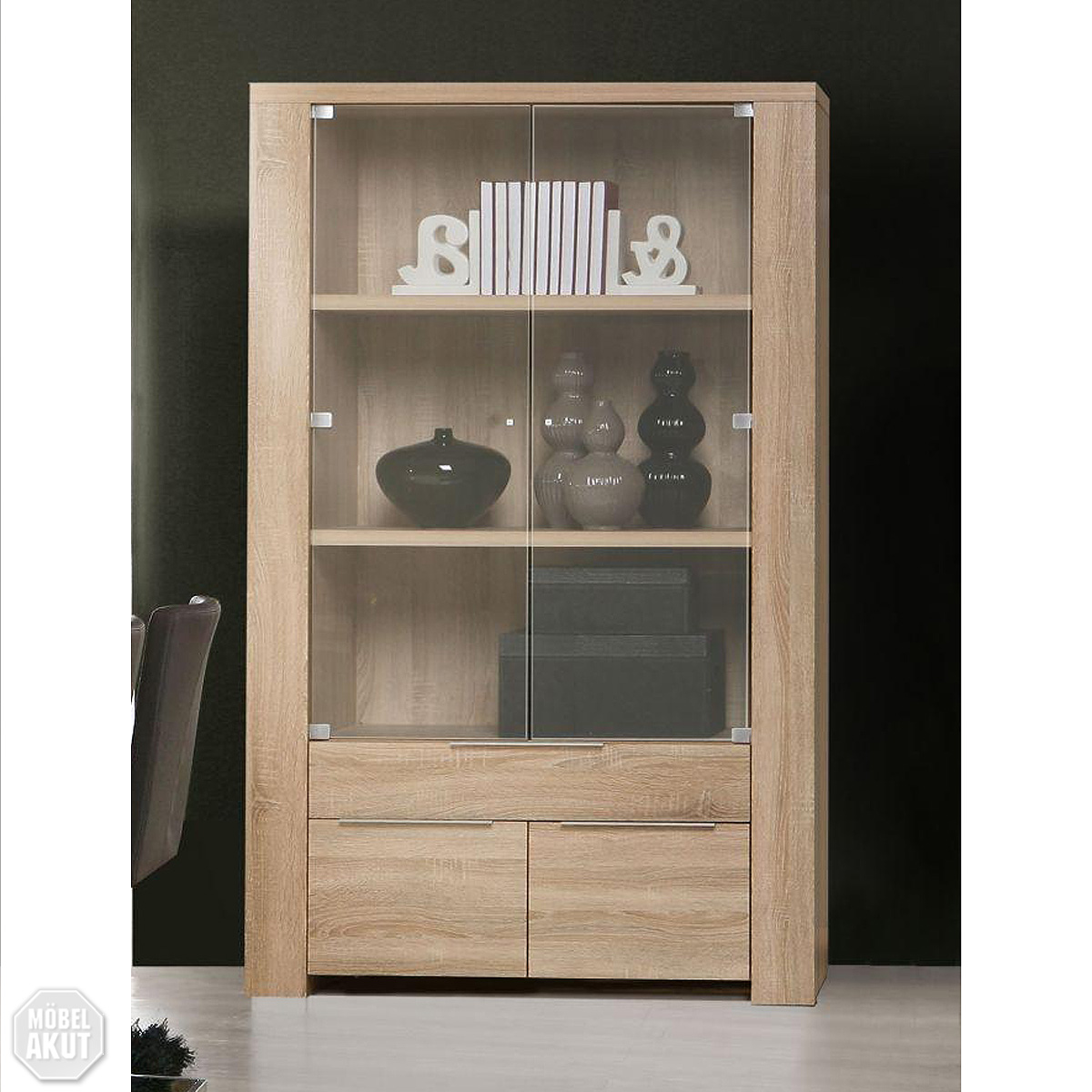 vitrine coopy glasvitrine in sonoma eiche s gerau aluminium neu ebay. Black Bedroom Furniture Sets. Home Design Ideas