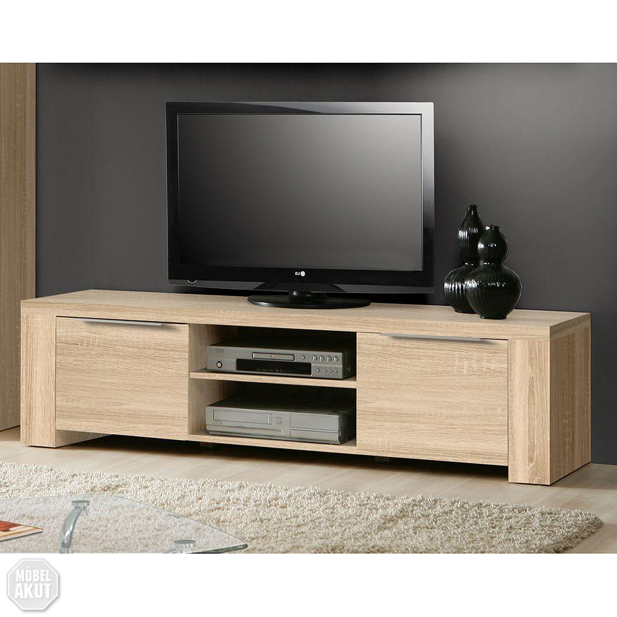 tv board coopy lowboard in sonoma eiche s gerau aluminium neu ebay. Black Bedroom Furniture Sets. Home Design Ideas