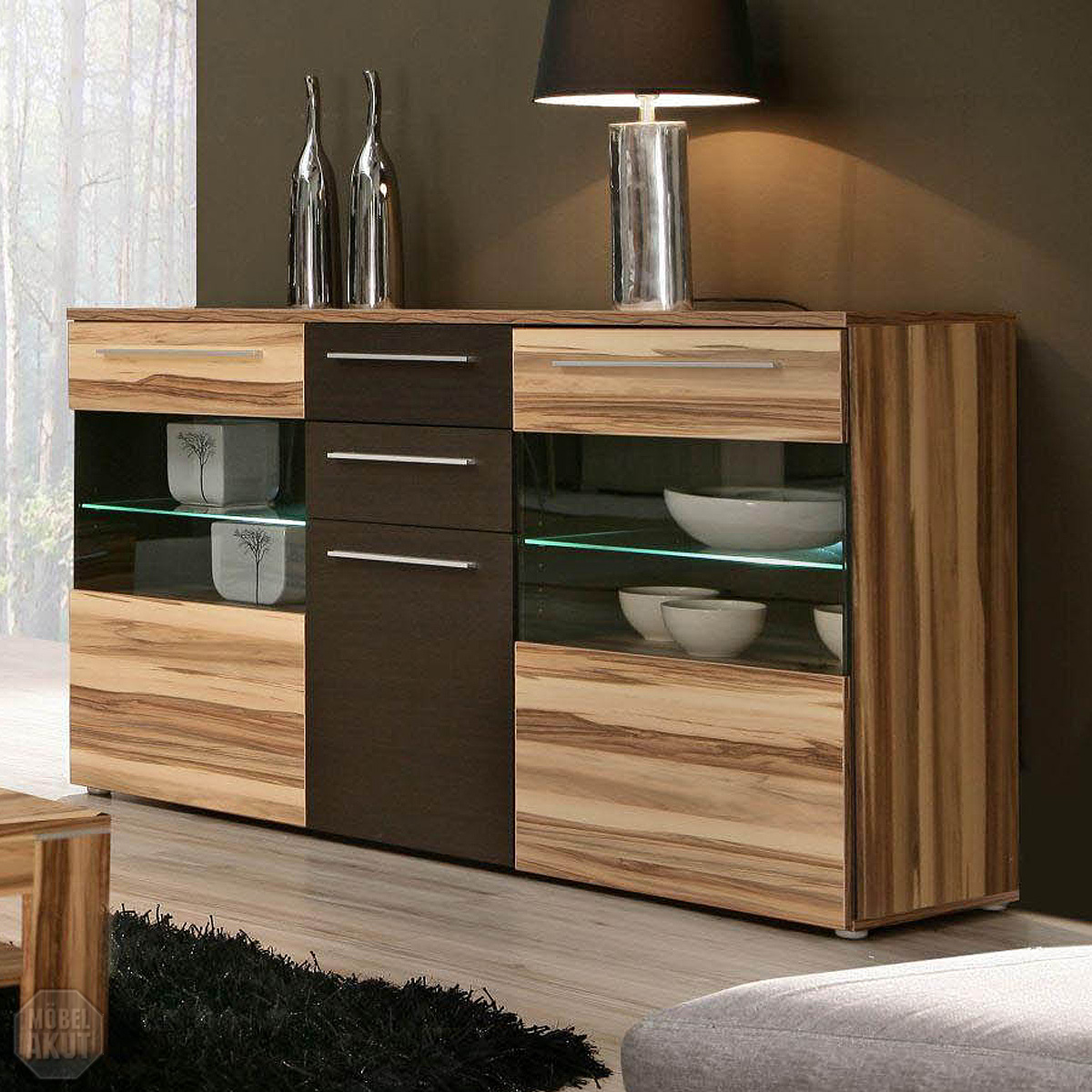 sideboard fondo kommode anrichte in baltimore walnuss braun led ebay. Black Bedroom Furniture Sets. Home Design Ideas