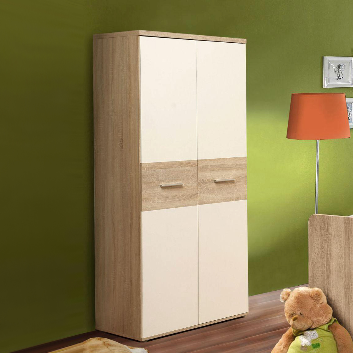 kleiderschrank winnie 2 t rig babyzimmer sonoma eiche dekor und wei ebay. Black Bedroom Furniture Sets. Home Design Ideas