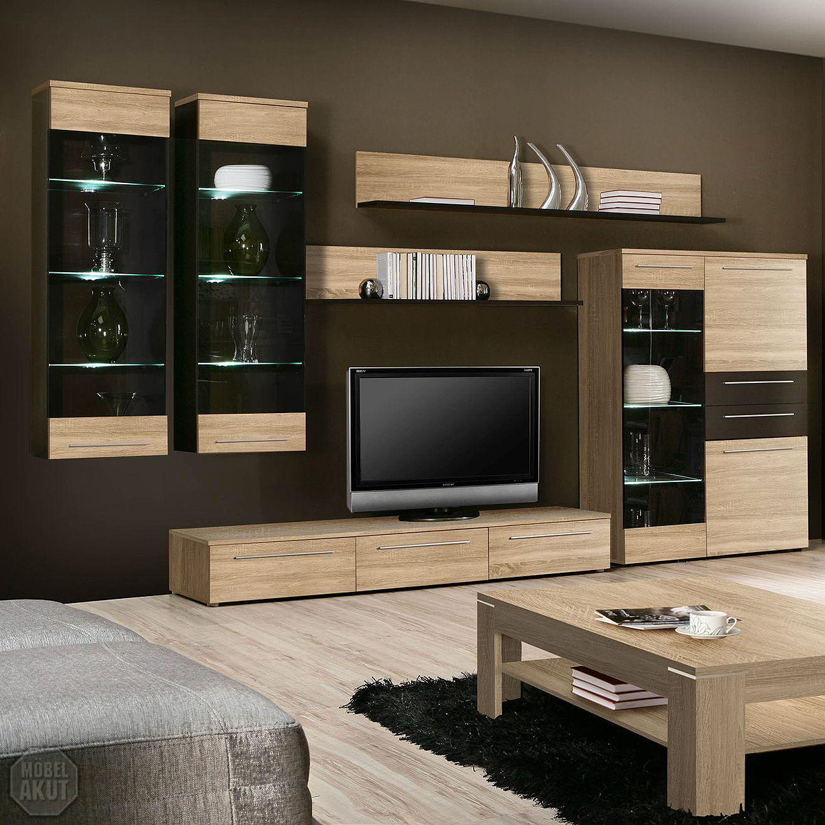 wohnwand fondo anbauwand wohnzimmer sonoma eiche s gerau braun led ebay. Black Bedroom Furniture Sets. Home Design Ideas