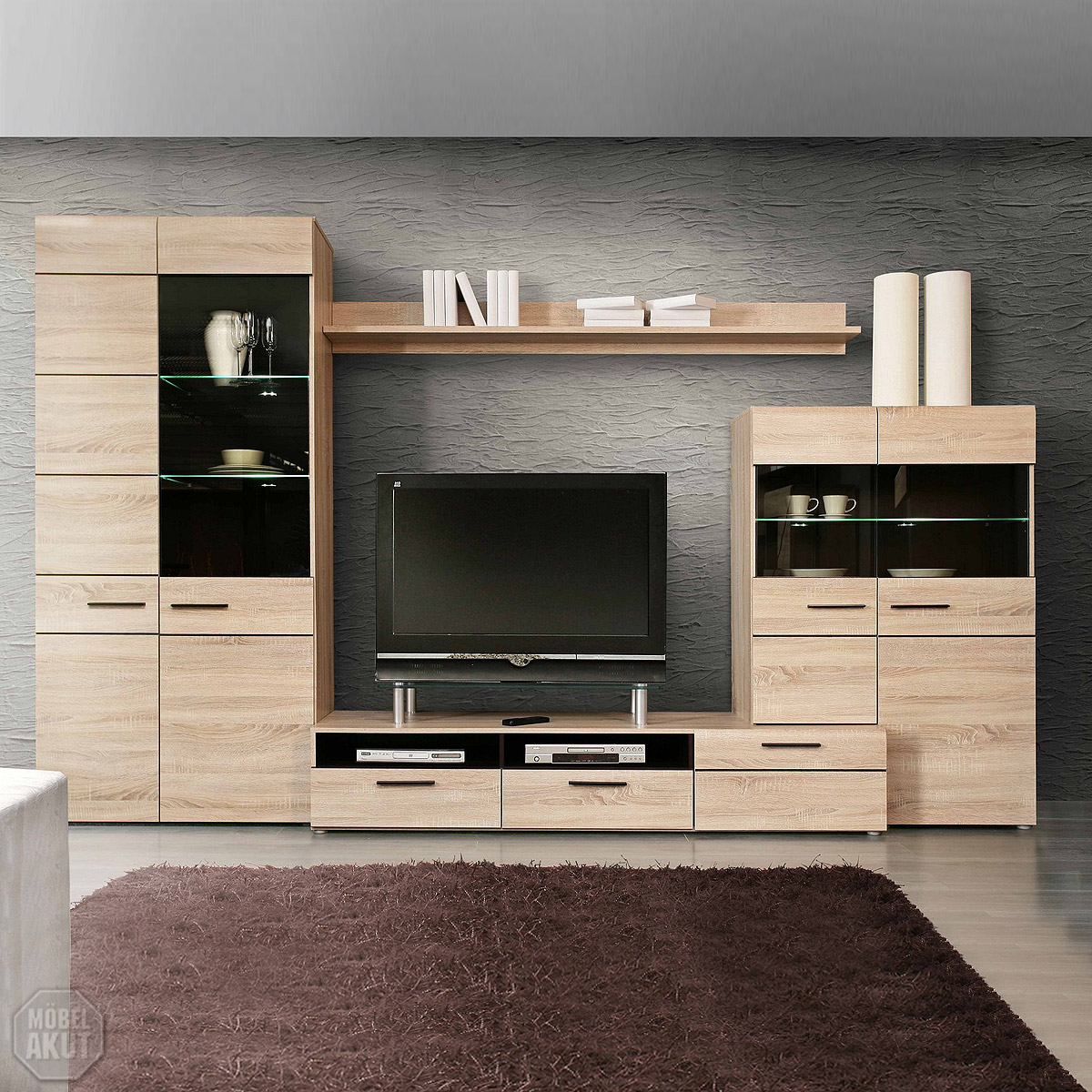 wohnwand 3 combino anbauwand wohnzimmer sonoma denver eiche wenge led ebay. Black Bedroom Furniture Sets. Home Design Ideas