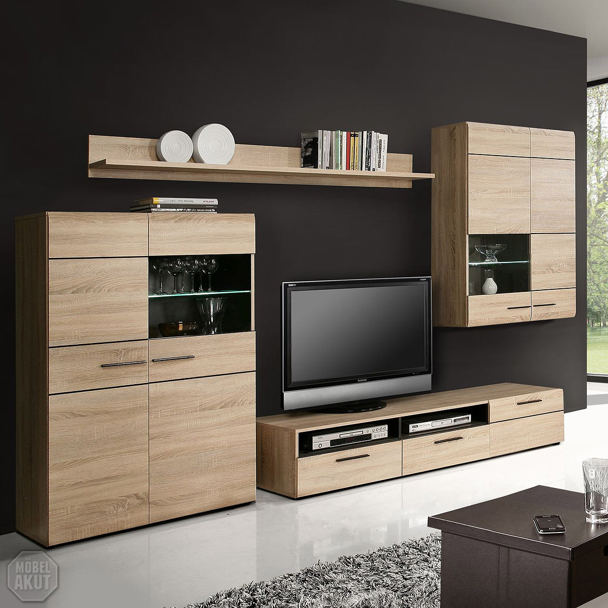 wohnwand 4 combino anbauwand wohnzimmer sonoma denver eiche wenge led ebay. Black Bedroom Furniture Sets. Home Design Ideas