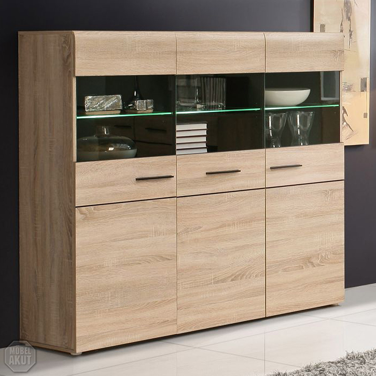 highboard combino sideboard buffet vitrine sonoma denver. Black Bedroom Furniture Sets. Home Design Ideas