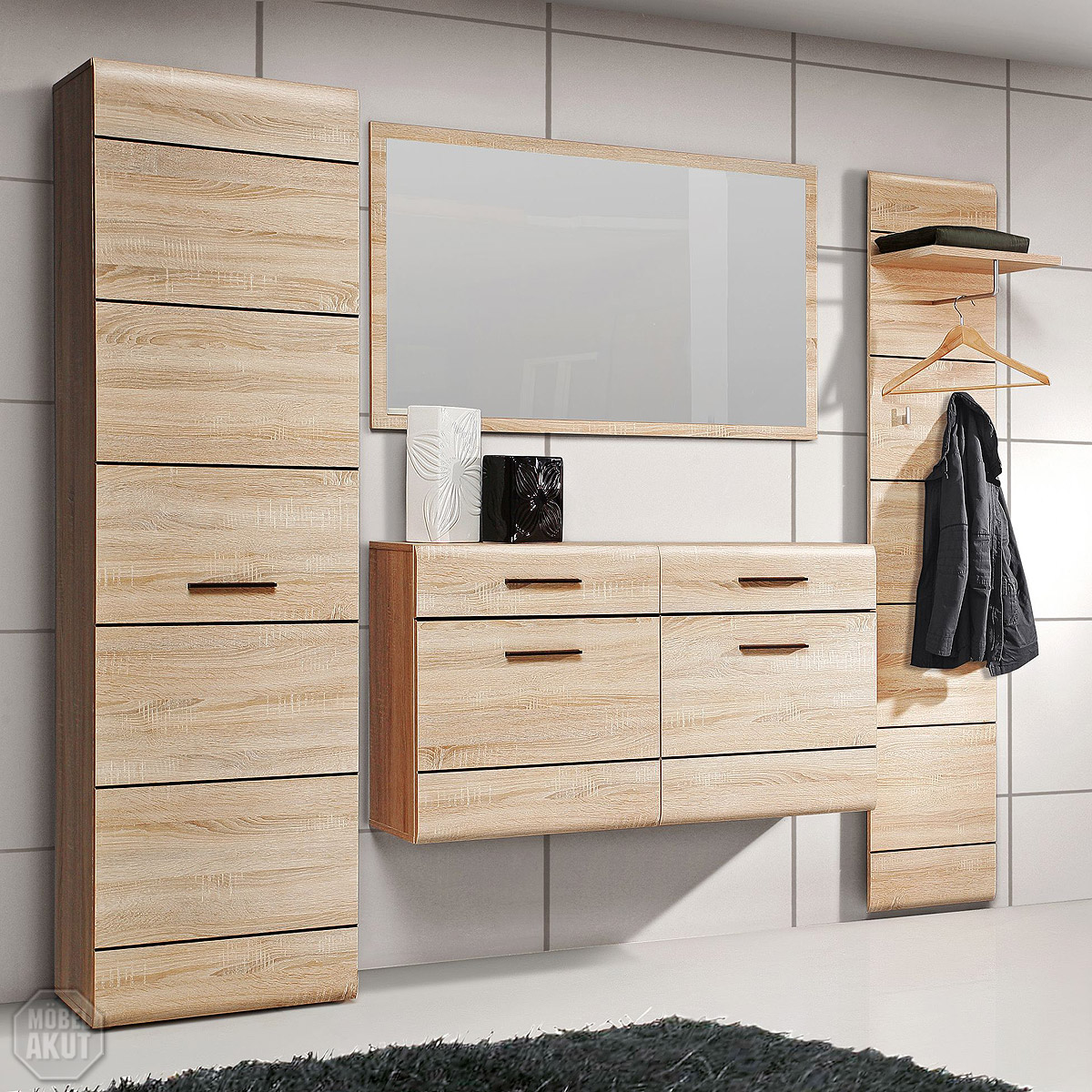 garderobenset 1 combino garderobe schuhschrank spiegel sonoma denver eiche ebay. Black Bedroom Furniture Sets. Home Design Ideas
