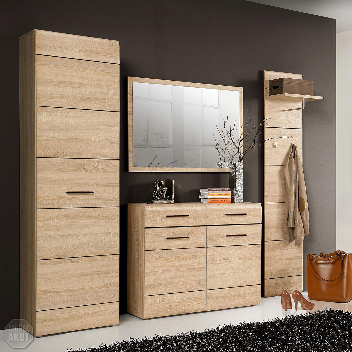 garderobenset 2 combino garderobe schuhschrank spiegel sonoma denver eiche ebay. Black Bedroom Furniture Sets. Home Design Ideas