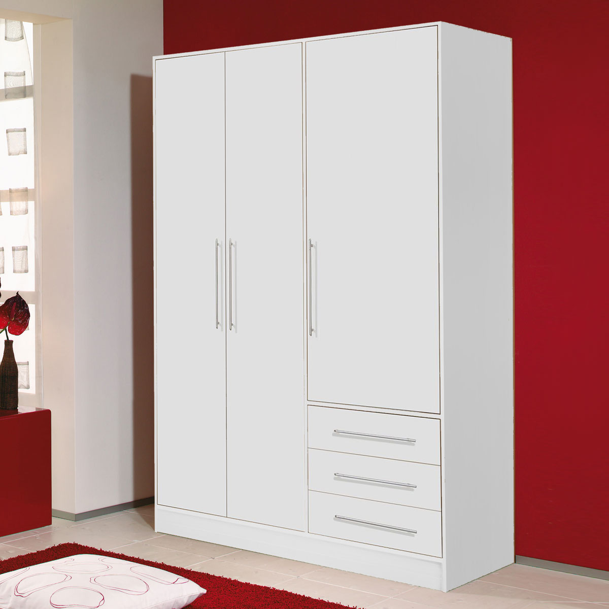 kleiderschrank jupiter 3 t riger schlafzimmerschrank in wei 144 6 cm breit. Black Bedroom Furniture Sets. Home Design Ideas