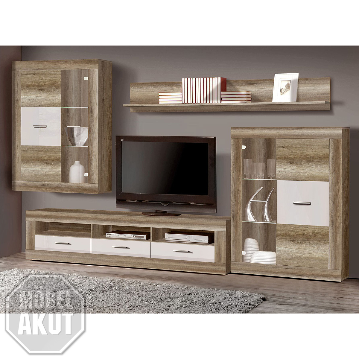 wohnwand gaucho anbauwand wohnzimmer eiche antik wei hochglanz led ebay. Black Bedroom Furniture Sets. Home Design Ideas