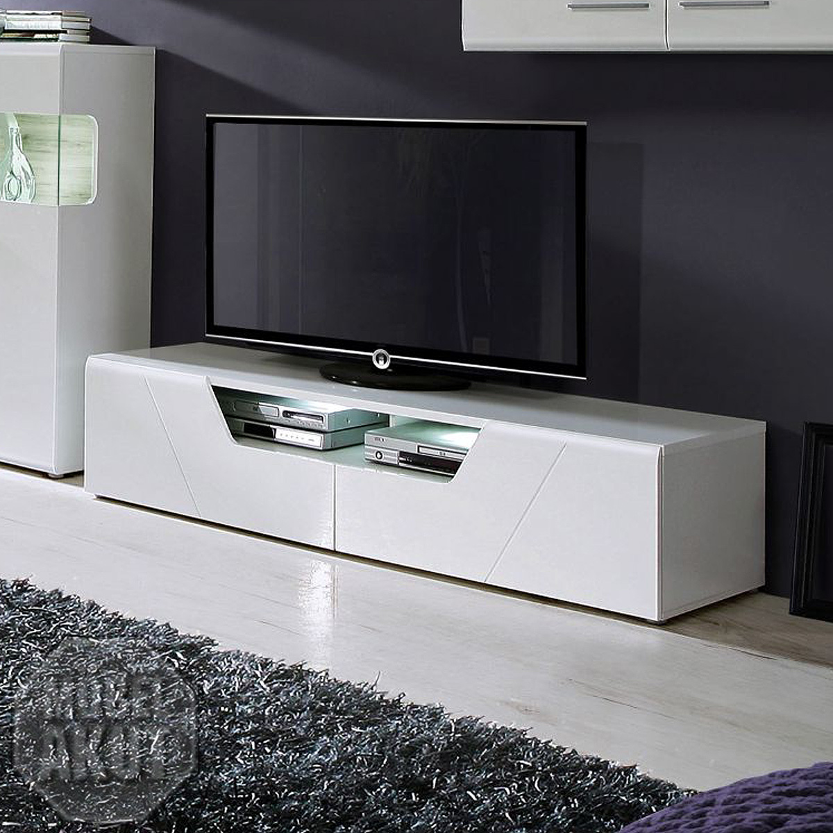 tv board kando unterschrank lowboard in mdf wei hochglanz ebay. Black Bedroom Furniture Sets. Home Design Ideas