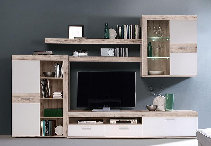 wohnwand zumba wohnzimmer anbauwand in sandeiche wei mit. Black Bedroom Furniture Sets. Home Design Ideas