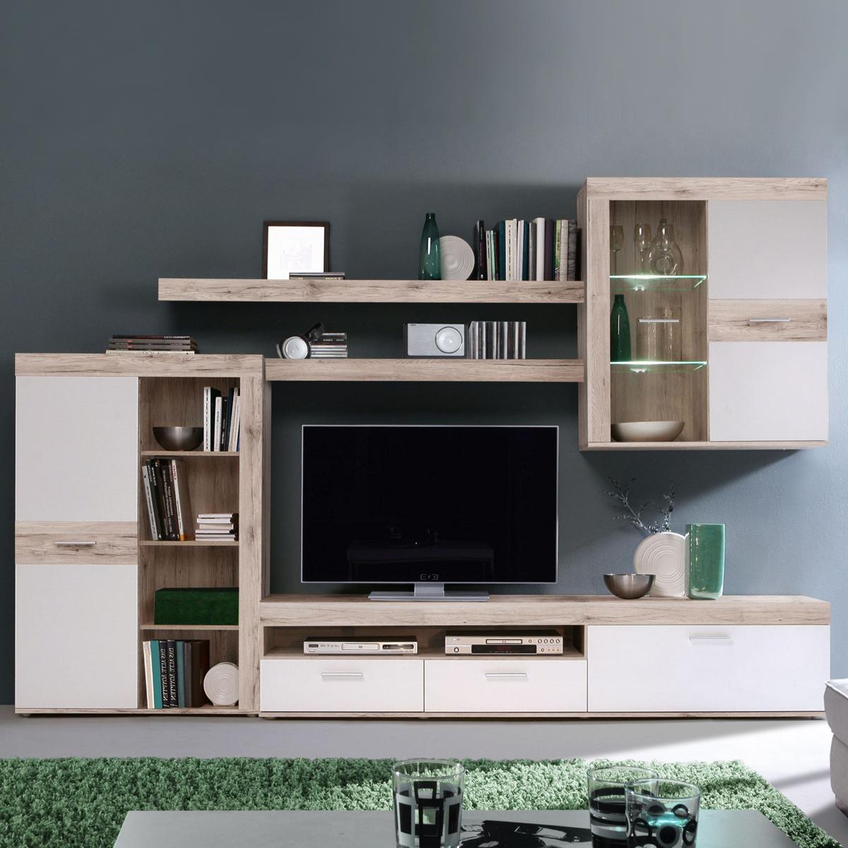 wohnwand zumba wohnzimmer anbauwand in sandeiche wei mit beleuchtung ebay. Black Bedroom Furniture Sets. Home Design Ideas
